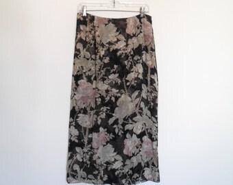 vintage 90s floral print ann klein maxiskirt s-m