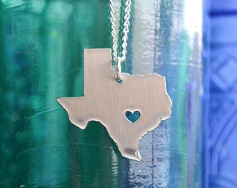Austin Texas Love Pendant on 18inch Sterling Silver Chain