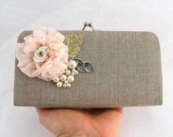 Linen Clutch, Wedding Clutch, Ivory, Silver, Peach, Sage, Green, Handbag, Rustic, Pearls, Chiffon Flower, Elegant, Vintage Style