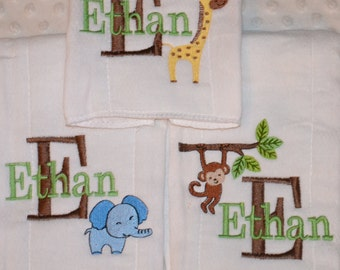 3 Personalized embroidered  Baby Burp cloths  lots of designs  owls, safari, sports, flowers, & many more