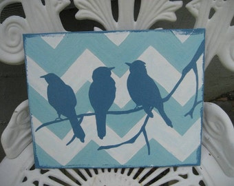 Original Aqua Chevron bird birds silhouette painting  8x10 panel shabby chic Nursery wall Art, Childs Room, baby shower gift