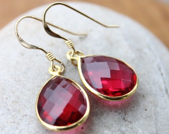 Gold Red Ruby Quartz Gemstone Earrings - Teardrops - 14Kt Gold Fill