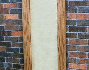 Full Length Oak Framed Mirror, Classic Golden w/ Clear Top Coat Finish, 20 x 60 - Handmade