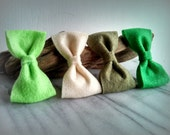 4 Felt Bow hair clips - Girls, Accessories, Felt, Bows, Colors, Green, By ktnunna