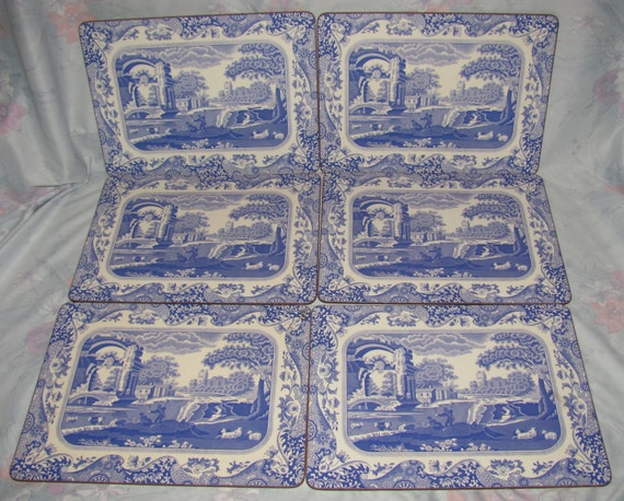 Vintage Spode Blue Room Placemats Set Of 6 Blue And White