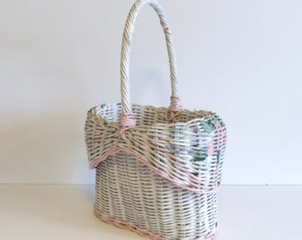 Vintage Basket Willow Basket pastel picnic basket lunch basket white with flowers cottage charm Wedding Shower Basket Spring Flower Basket