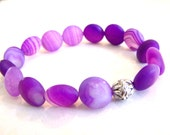 Purple Coin Gemstone Stretch Bracelet, dyed agate beads, Under Ten Dollars
