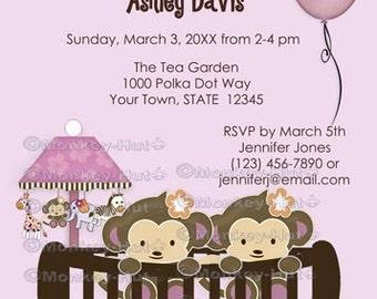 Twin Monkey Baby Shower Invitation Crib CJ Orchid lavender/pinks/purple (DIGITAL INVITATIONS) Twins