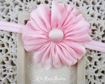 Pink Flower Headband, Satin Flower Headband or Hair Clip, Baby Toddler Child Girls Headband