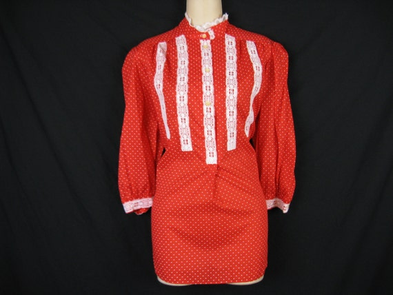 1970's red polka dot blouse. lace bodice tunic.  medium / large. new old stock.