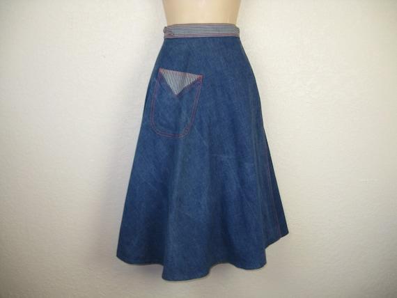 1970 s denim wrap skirt blue jean a line waist by