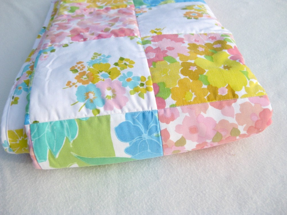 Vintage Sheet Patchwork Quilt In Pink Yellow White And Blue