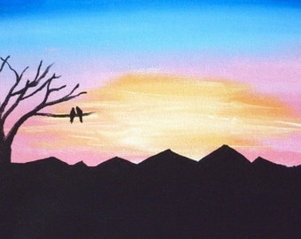 Watching the Sunrise- Original Painting by Jamies Art 8x10 Perfect for your Valentine