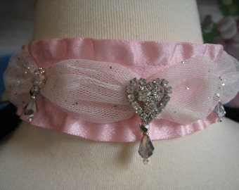 Marie Antoinette's Satin Lace Heart Necklace Choker