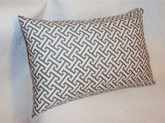 Charcoal Gray Lattice Decorative Lumbar Pillow Cover - Two Sizes Available