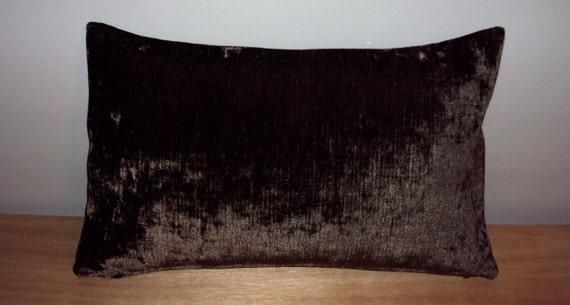 Sale 20x12 Espresso Brown Velvet Lumbar Pillow Cover Was