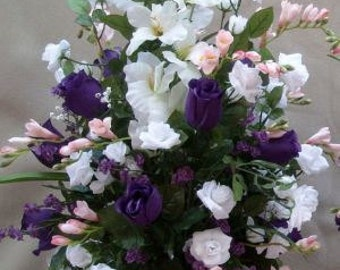 Wedding Purple & White Roses, Gladiolus, Pink Freesias, Tall, Arbor, Pedestal Silk Flower Floral Arrangement / Centerpiece