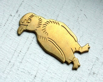 2 Vintage Brass Puffin Penguin Stampings // Kitsch Brooch Supply