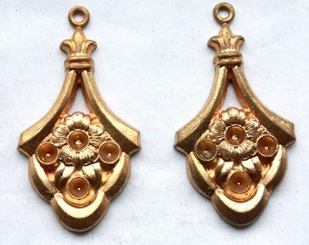 4 Vintage 1950s Bright Brass Art Nouveau Pendants // Edwardian Rhinestone Settings // Titanic Era Earrings
