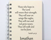 Prayer Journal Notebook Diary Sketch Book - Isaiah 40:31 Bible Verse - Wings Like Eagles - Small Notebook 5.5 x 4.25 Inches - Ivory