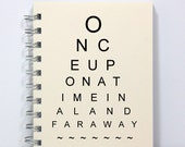 Eye Chart Spiral Notebook Journal Diary - Once Upon a Time - Small Notebook 5.5 x 4.25 Inches - Ivory