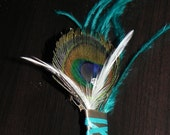 Teal boutonniere for a groom, feather flower pin