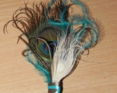 Teal boutonniere, feather and teal boutonniere