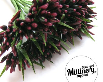 Burgundy Spikey Bud Flower Picks / Stamens for Flower Making & Millinery Bunch of 12