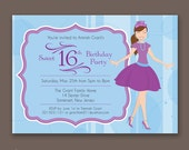 Crowned Teen with Ponytail - Birthday Party Invitations