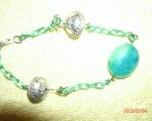 FLASH SALE Blue Green Glass Bead Bracelet with Silvertone Chunky Beads