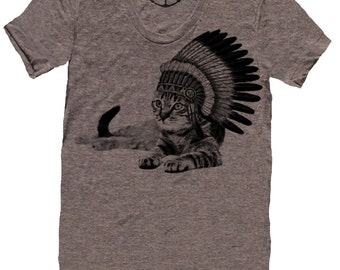 CAT INDIAN lady t shirt -- american apparel  S M L XL skip n whistle