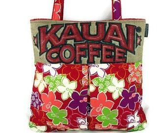 MTO. Custom. Kauai, Burlap and Pleated Hobo Handbag. Repurposed Kaui Coffee Sack. Handmade in Hawaii.
