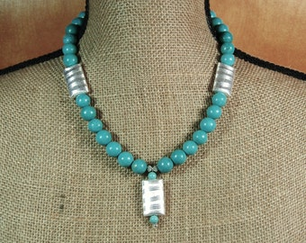 American Blue Turquoise, and .925 Sterling Silver Pendant Necklace and Earrings
