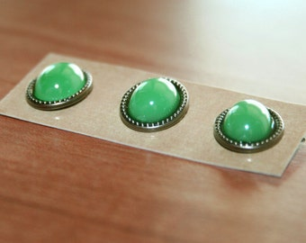 3 Green Pearl Brad Embellishments - Scrapbooking, Flower Middles