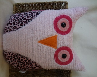 Large Hoot Owl  -Pink Chenille and Minky with  Animal Print