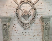 Painted Cottage Chic Shabby Farmhouse Deer Antlers HD32