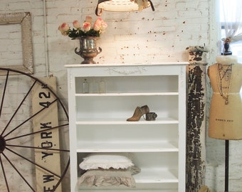 Painted Cottage Chic Shabby White Romantic Bookcase BC06