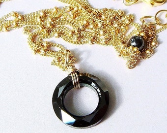 Swarovski Necklace Circle Ring Crystal Necklace Gold Necklace Cosmic Ring