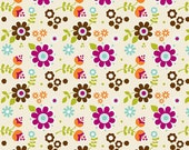 Little Matryoshka Cream Floral Fabric from Riley Blake Designs by the Half Yard