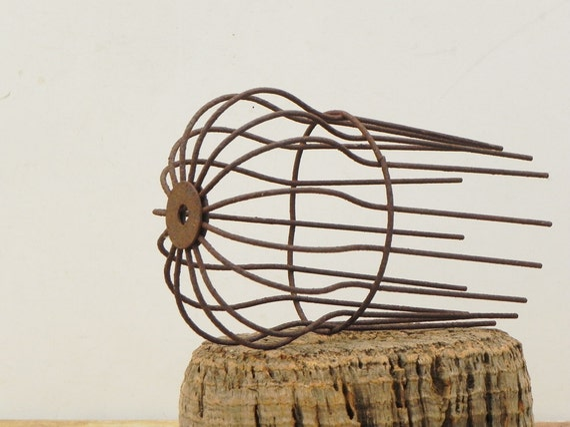 vintage industrial metal wire cage light bulb by. Black Bedroom Furniture Sets. Home Design Ideas