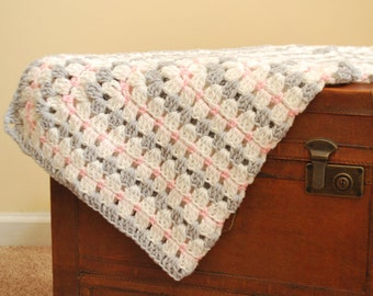 Crocheted Baby Afghan - Grey, Pink, Soft White