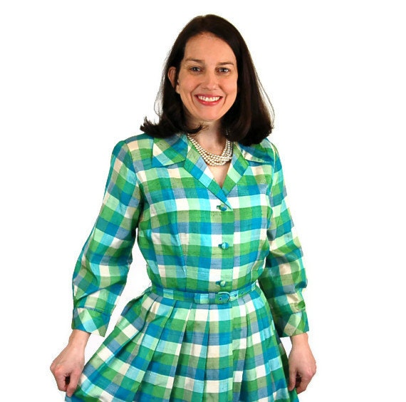 1950s dress, shantung silk dress, plaid dress, shirtwaist, blue green, checkered, pleated dress, spring fashion, Size S/M