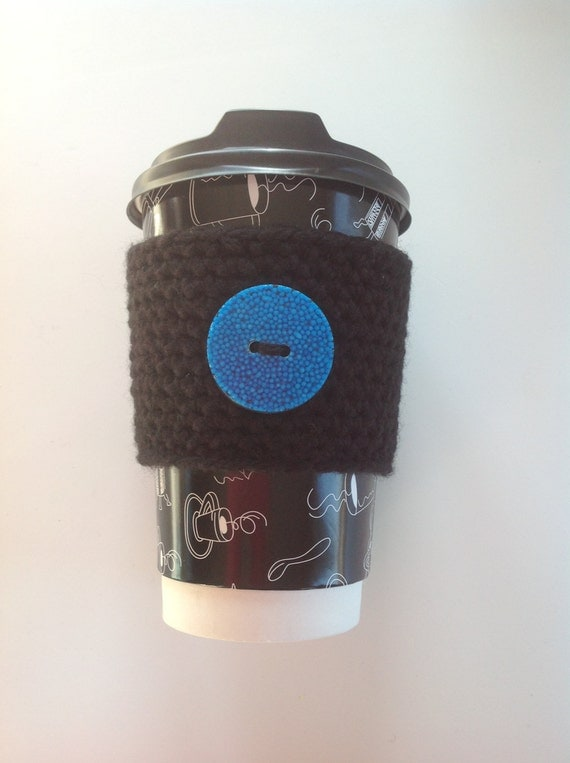 Black Crocheted coffee cozy with candy button