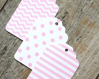 Light Pink Gift Tags, Pink Wedding Favor Tags, Baby Shower Favor Tags, Pink Tags CHOOSE ONE PATTERN: Polka Dot, Stripe or Chevron (18) t)
