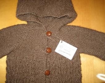 Child Hooded Jacket, Hooded Jacket Size 6 - 8, Undyed Peruvian Ecological Wool Jacket, Knit Jacket