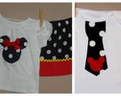 Traditional Disney Brother Sister Set - Baby Toddler Girl Boy -Skirt Set and Tie Shirt - Black Red Yellow -Perfect for Disney Trips