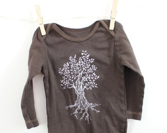 Tree Cotton Baby Bodysuit, Infant Creeper, One Piece Snapsuit, Long Sleeved and brown