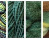 Hand Dyed Samples of Merino Wool DK Sport Weight Yarn in Avocado Stone