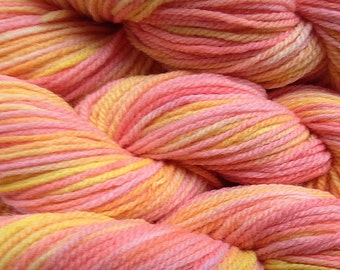 Handpainted Merino Wool Worsted Weight Yarn in Spring Melon