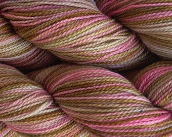 Fingering Weight Hand Painted Merino Wool Sock Yarn in Pink Sand Brown